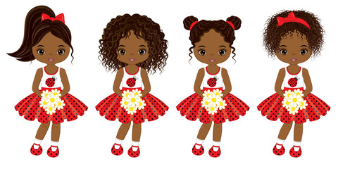 Vector Cute Little African American Girls with Various Hair Colors
