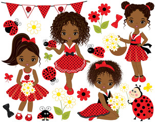Vector Set with Cute Little African American Girls, Ladybugs, Flowers and Bunting