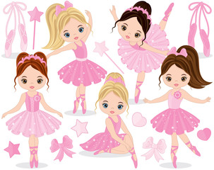 Vector Set with Cute Little Ballerinas
