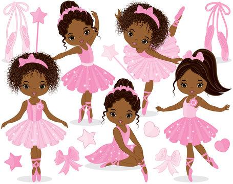 Vector Set with Cute Little African American Ballerinas