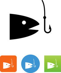 Fishing Biting A Hook Icon - Illustration