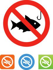 Fishing Prohibited Icon - Illustration