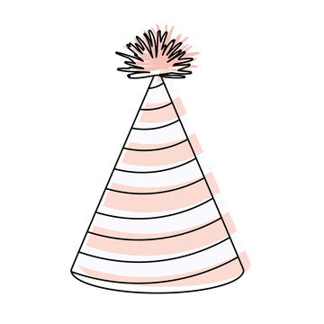 watercolor silhouette of pink party hat with diagonal lines decoratives