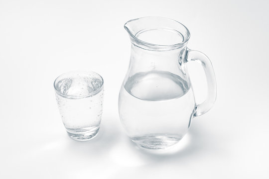 glass and jug with drink water