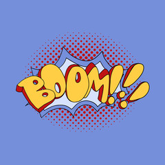 Comic speech bubble boom pop art. Vector illustration.