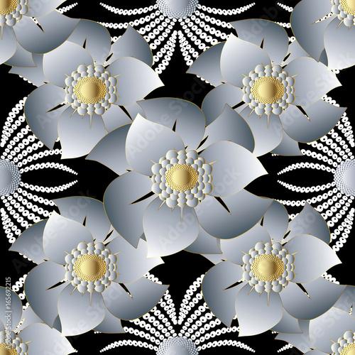 Modern Floral Seamless Pattern Black Flourish Background