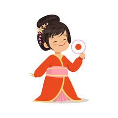 Cute girl wearing red kimono, national costume of Japan colorful character vector Illustration