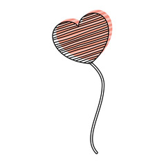 watercolor silhouette of balloon in heart shape with blue striped lines floating