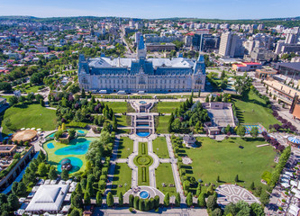 Iasi city centre as seen from above aerial view