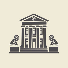 Icon of a stylized two-storey old building with columns and two sculptures of lions. Flat vector isolated silhouette.
