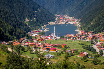 Uzungol(Long Lake):One of the most beautiful tourist places in Turkey.The mountain valley with a trout lake and a small village in Trabzon,Turkey.