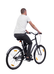 back view of a man with a bicycle. cyclist rides a bicycle. Rear view people collection.  backside view of person. Isolated over white background.