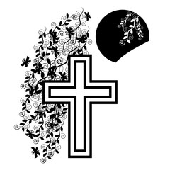 Funeral icon cross - faith and religion. Vector illustration.