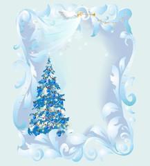 Bożonarodzeniowa dekoracja z choinką  i aniołem