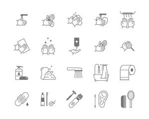 Symbol of Higiene Black Thin Line Icon Set. Vector