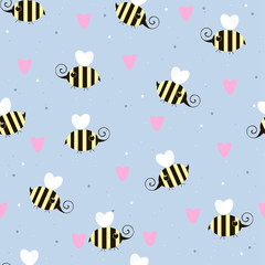Cute little flying bees seamless pattern. Vector hand drawn illustration.