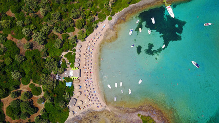 """Aerial drone photo of exotic beaches with sapphire and turquoise clear waters, called the """"Seychelles"""" of Greece, Lihadonisia island complex, North Evoia gulf, Greece"""