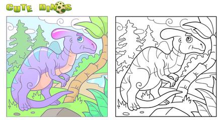 Cartoon funny parasaurolophus, cute image