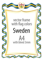 Frame and border  with the coat of arms and ribbon with the colors of the Sweden flag