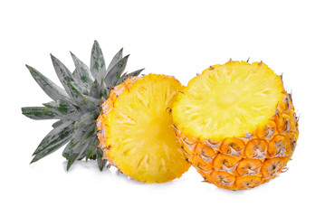 half of ripe pineapple isolated on white background