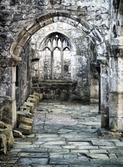 old ruined medieval church in heptonstall with columns and windows