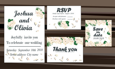wedding invitation card suite with daisy flower