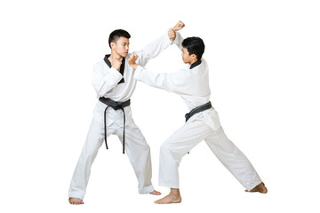 Portrait of two asian taekwondo professional with  black belt fighting. Isolated full length on white background with copy space and clipping path