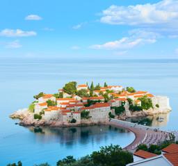 The morning view of   Sveti Stefan sea islet (Montenegro)