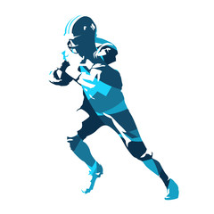 Football player running with ball, abstract blue vector silhouette