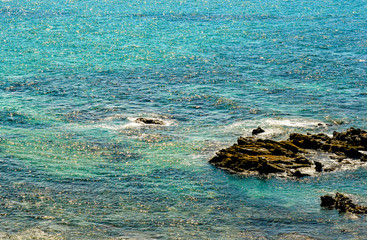 All shades of blue of the Pacific ocean.