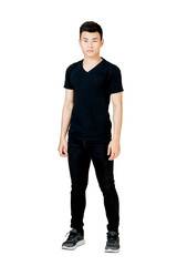 Portrait of a man standing in black t-shirt and black jeans. Isolated full length on white background with copy space and clipping path
