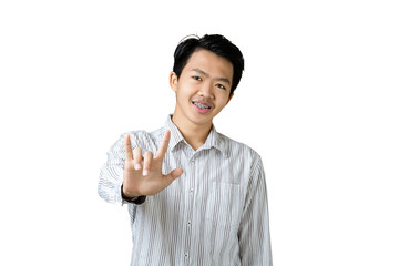 Portrait of a young asian businessman showing I Love You hand sign. Isolated on white background with copy space and clipping path
