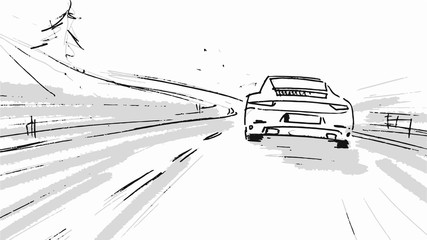 Car driving through the road. Vector sketch illustration for advertise, insurance company, storyboard, projects
