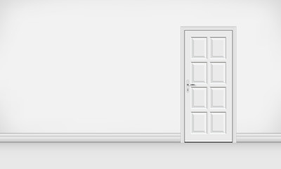White blank interior with closed door