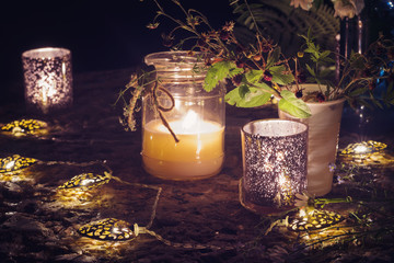 Romantic still life with candlelight