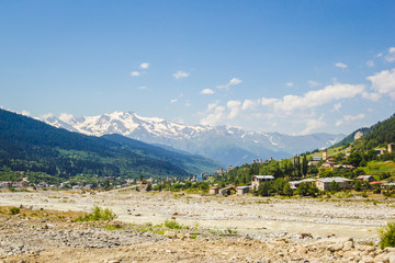Svan towers in Mestia village in Caucasus mountains