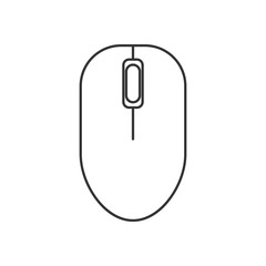 Isolated black outline computer mouse on white background. Line icon.