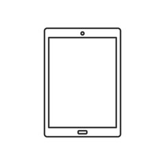 Isolated black outline tablet on white background. Line icon.