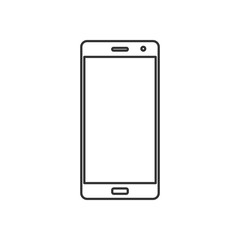 Isolated black outline smartphone on white background. Line icon.