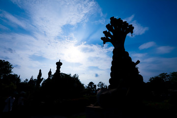 Nongkhai, Thailand - April 29, 2017  Sala Keoku, the park of giant fantastic concrete sculptures inspired by Buddhism and Hinduism. It is located in Nong Khai,Thailand