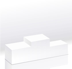 Sport winners white podium isolated vector.Pedestal side view. Right view. 3d style illustration. Clear pedestal on light background.
