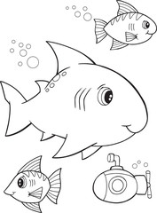 Cute Shark Vector Illustration Coloring Page