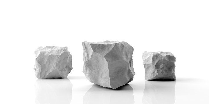 Marble stone podium on white background. 3d illustration
