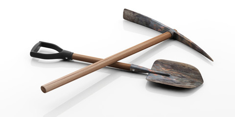 Pickaxe and shovel on white background. 3d illustration