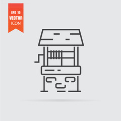 Water well icon in flat style isolated on grey background.