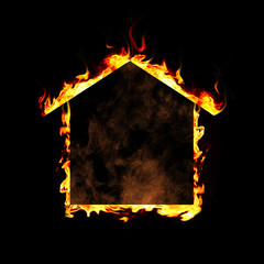 House of flame on black background. Fire safety concept