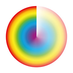 Rainbow colored preloader or buffer circle with gradient transparency to be used as rotating symbol while loading, downloading or streaming. Isolated vector illustration on white background