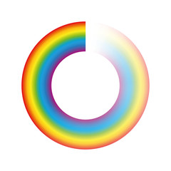 Buffering circle or preloader - rainbow colored ring with transparency to be used for animation as spinning icon while loading, downloading or streaming. Isolated vector on white background.