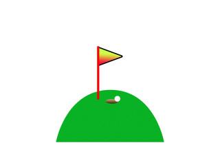 Golf course with ball near hole