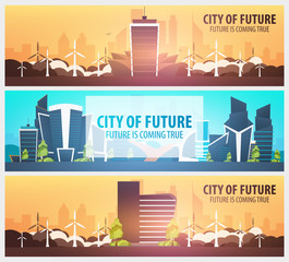 Set of Flat style banners. Modern city houses. Building of future. Architecture of the future.